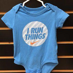 "💲2/$12💲Nike ""I Run Things"" Cyan Infant Bodysuit"